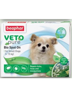 Beaphar Veto Pure Bio Spot On - репелентни Bio капки за кучета от дребните породи - 3 броя
