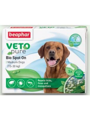 Beaphar Veto Pure Bio Spot On - репелентни Bio капки за кучета от средните породи - 3 броя