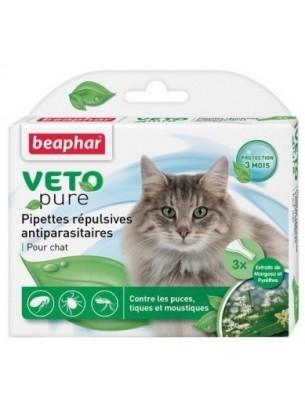 Beaphar Veto Pure Bio Spot On - Противопаразитни репелентни капки за израстнали котки на билкова основа - 3 бр.