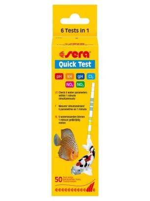 Sera Quick Test - Тестови лентички 20 броя за бързо определяне - за 60 секунди - на 5 параметъра на водата в аквариума и градинското езеро: - pH, kH, gH, NO2, NO3