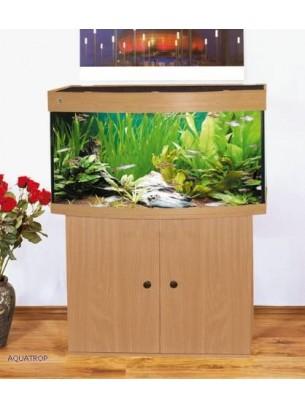 Woha NEGRO - Оборудван аквариум с извито панорамно стъкло и рамка на основата - цвят бук - 230 л. - (цената е без шкаф)