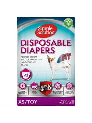 Simple Solution Disposable Diapers - Памперси за женски кучета - размер XS/Toy - 12 бр.
