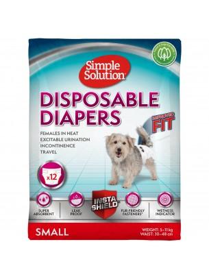Simple Solution Disposable Diapers - Памперси за женски кучета - размер S - 12 бр.