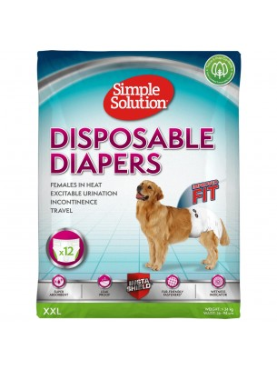 Simple Solution Disposable Diapers - Памперси за женски кучета - размер XXL - 12 бр.