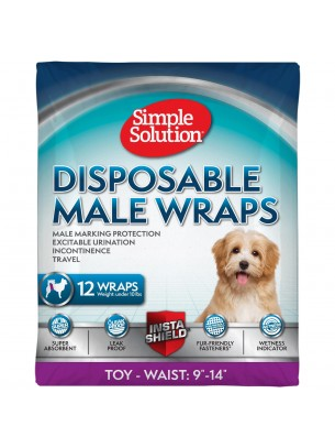 Simple Solution Disposable Male Wraps - Памперси за мъжки кучета - размер XS/Toy - 12 бр.