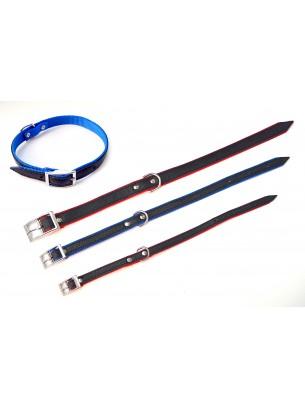 Миазоо Кожено- текстилен нашийник - 2.5/50 см. -  черно/червено или черно/синьо