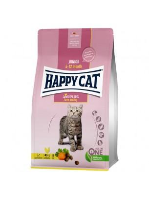 Happy Cat Kitten Junior - за подрастващи котета на възраст от 4-рия до 12-ия месец с пилешко месо, сьомга и ябълки - 0.300 кг.