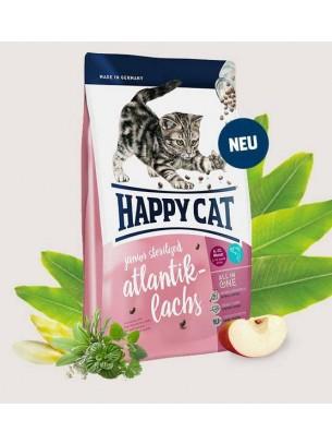 Happy Cat Junior Sterilised Atlantic Salmon - за подрастващи, кастрирани котета на възраст от 6-тия до 12-ия месец със сьомга - 1.4 кг.