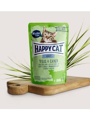 Happy Cat All Meat Adult Veal & Lamb - неустоим пауч за израстнали котки с телешко и агнешко месо - 85 гр.