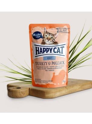 Happy Cat All Meat Adult Turkey & Pollack - неустоим пауч за израстнали котки с пуешко месо и морска сьомга - 85 гр.
