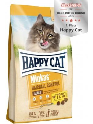 Happy Cat Minkas Hairball Control - пълноценна храна за профилактика при образуване на космени топки - за котки над 12 месеца с пилешко месо - 10 кг.