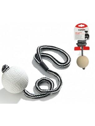 Camon - Играчка за куче - Мека гумена топка с въже - 7 см.