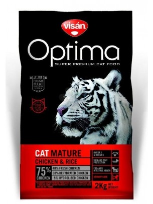 Visan Optima Cat Adult Mature Chicken & Rise (GRAIN FREE) - супер премиум храна с пиле и ориз за котки над 8 година - 2 кг.