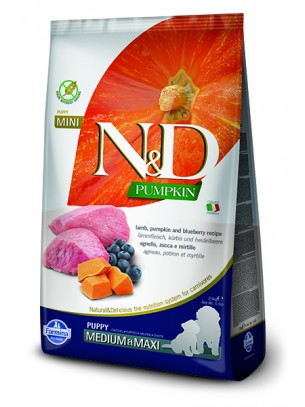 N&D GF - PUMPKIN LAMB&BLUEBERRY PUPPY MEDIUM & MAXI - Пълноценна храна за подрастващи кученца и бременни или кърмещи кучета от средни и едри породи с агнешко, тиква и боровинки - 12 кг.