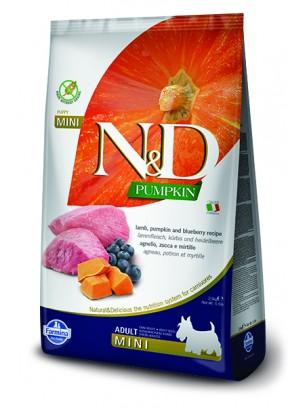 N&D GF - PUMPKIN LAMB&BLUEBERRY, ADULT MINI -  Пълноценна храна за кучета от дребни породи в зряла възраст с агнешко, тиква и боровинки - 2.5 кг.