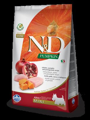 N&D GF - PUMPKIN CHICKEN &POMEGRANATE, ADULT ADULT MINI - Пълноценна храна за кучета от дребни породи в зряла възраст с пиле, тиква и нар - 0.8 кг.