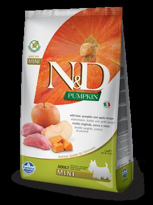 N&D GF - PUMPKIN BOAR&APPLE., ADULT MINI - Пълноценна храна за кучета от дребни породи в зряла възраст с глиганско, тиква и ябълка - 2.5 кг.