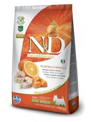 N&D GF - PUMPKIN CODFISH&ORANGE, ADULT MINI -  Пълноценна храна за кучета от дребни породи в зряла възраст с риба треска, тиква и портокал - 2.5 кг.