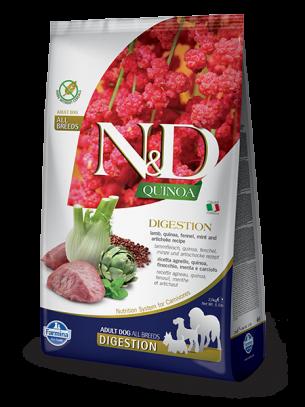 N&D - QUINOA DIGESTION LAMB - Пълноценна храна за кучета в зряла възраст с агнешко, киноа, копър и артишок - 7 кг.