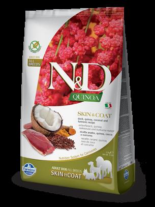 N&D - QUINOA SKIN&COAT DUCK, COCONUT- Пълноценна храна за кучета в зряла възрастпри чувствителен стомах, спатешко месо, киноа, кокос и куркума - 2.5 кг.