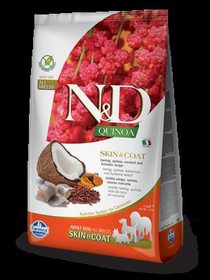N&D - QUINOA SKIN&COAT HERRING, COCONUT - Пълноценна храна за кучета в зряла възраст с чувствителен стомах и за здрава козина, с херинга, киноа, кокос и куркума - 2.5 кг.