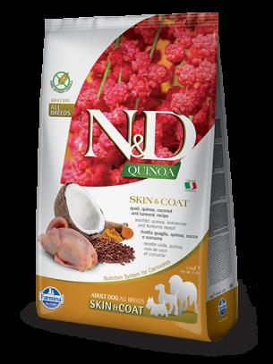 N&D - QUINOA SKIN&COAT QUAIL, COCONUT - пълноценна храна с киноа за кучета в зряла възраст над 1г. за всички породи при чувствителен стомах, здрава кожа и козина с пъдпъдък, кокос и куркума - 2.5 кг.