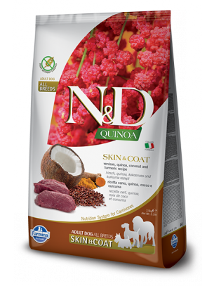 N&D - QUINOA SKIN&COAT VENISON, COCONUT – пълноценна храна с киноа за кучета в зряла възраст над 1г. за всички породи при чувствителен стомах, здрава кожа и козина с еленово месо, кокос и куркума - 2.5 кг.