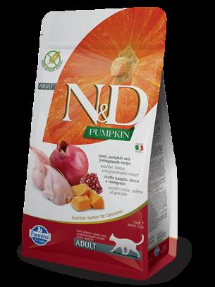N&D CAT - PUMPKIN QUAIL&POMEGRANATE ADULT – пълноценна храна с тиква за котки над 1 година, с пъдпъдък и нар - 1.5 кг.