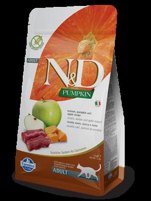 N&D CAT - PUMPKIN VENISON&APPLE ADULT – пълноценна храна с тиква за котки над 1 година, с еленово месо и ябълки - 0.3 кг.