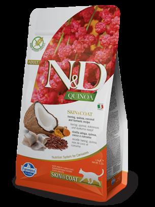N&D - QUINOA SKIN&COAT HERRING, COCONUT – пълноценна храна с киноа за котки над 1 г. при чувствителен стомах, здрава кожа и козина с херинга, кокос и куркума - 1.5 кг.