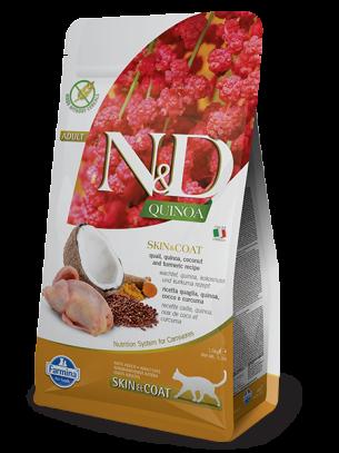 N&D - QUINOA SKIN&COAT QUAIL, COCONUT – пълноценна храна с киноа за котки над 1 г. при чувствителен стомах, здрава кожа и козина с пъдпъдък, кокос и куркума - 1.5 кг.