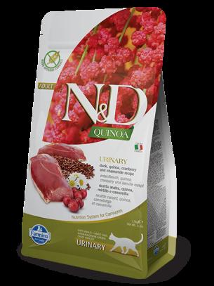 N&D - QUINOA URINARY DUCK, CRANBERRY – пълноценна храна с киноа за котки над 1 г. за уринарен тракт с патица, червена боровинка и лайка - 1.5 кг.