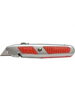 MTX Germany - Нож макетен с изтеглящо се трапецовидно острие - 18 mm., с метален корпус и отделение за остриета