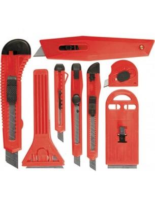 MTX Germany - Комплект ножове макетни и стъргала: - макетни ножчета с изтеглящи се остриета - 9 мм. - 4 бр. И  18 мм. - 2 бр.;, стъргалки 40-62 mm. -2 бр.