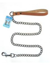 Миазоо - Повод синджир с ковена ръкохватка - дължина 100 см. / 2.5 мм. - натурал, черен или червен