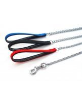 Миазоо - Повод синджир -  2,5 мм. Х 100 см - дръжка лента с неопрен - черна, червена или синя
