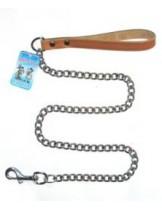 Миазоо - Повод синджир с ковена ръкохватка - дължина 100 см. / 3.0 мм. - натурал, черен или червен