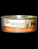 Applaws Chicken Breast with Pumpkin in Broth - високо качествен консерва за котки над 12 месеца с месо от пилешки гърди и тиква в бульон - 70 гр.