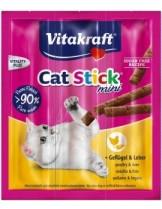 Vitakraft Cat-Stick mini Chicken/liver - саламена пръчица неустоимо лакомство за котки с птиче месо и дроб - 3 бр.