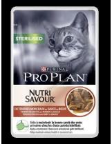 Pro Plan Nutri Savuor Sterilised - за кастрираникотки над 1 година - с говеждо месо  - 85 гр.