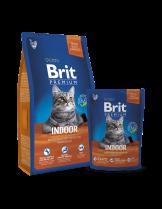 Brit Premium Chicken Indoor - suha храна за котки с намалена физическа активност над 1 година с пилешко месо и дроб - 8 кг.