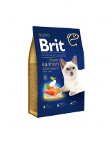 Brit Premium Cat Adult Salmon Delicate salmon and salmon gravy - пълноценна храна за котки над 1 година за красива и здрава козина със сьомга и Омега 6 - 8 кг.