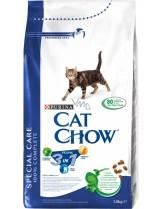 Cat Chow Adult Special Care 3 in 1 - суха гранулирана, храна за възрастни котки над 1 година, справяща се с три проблема: уринари, хербъл контрол и почистване на зъбния камък - 1.5 кг.
