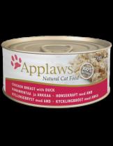 Applaws Chicken Breast with Duck in Broth - високо качествен консерва за котки над 12 месеца с месни хапки чисто пилешко и пуешко месо в бульон - 156 гр.