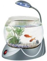 HAILEA кръгъл аквариум MINI V-01 с осветление 2.5 л. - сребърен