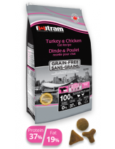 Nutram Grain Free Turkey & Chicken Cat Recipe - пълноценна формула за котки от всички възрасти с с пиле и пуйка , без съдържание на зърнени храни и риба - 0.300 кг.