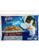 Felix Fantastic Multipak with Chicken/Beef 4x100 gr.- паучове за котки  с пилешко и говеждо месо в желе - 4х100 гр.
