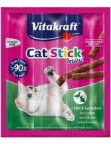 Vitakraft Cat-Stick mini duck/rabbit - саламена пръчица неустоимо лакомство за котки с патешко и заешко месо - 3 бр.