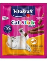 Vitakraft Cat-Stick mini turkey/lamb - саламена пръчица неустоимо лакомство за котки с пуешко и агнешко месо - 3 бр.