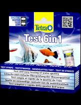 Tetra Test 6 in 1 - 704154 - тест 6 в 1 за бързо измерване на стойностите на PH, KH, GH, NO2, NO3 и CL2 във водата - 20 бр. Ленти